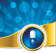 20977100 - pill advertisement with bursting blue background and white space